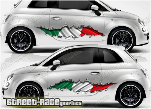 Fiat 500 ripped metal graphics