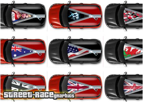 Zipper car roof graphics